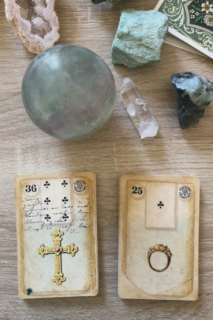 Lenormand Cross card combinations and interpretations. Learn how to combine the Lenormand Cross card for general, love, business, money, health and other types of readings. Here is how to combine Cross with Stork, Tree, Snake, Fox and other cards in your deck.