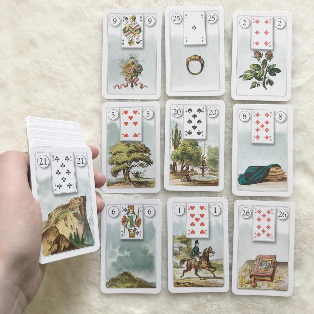 The Lenormand, 36 Orakelspielkarten mi Kartenbildern Deck