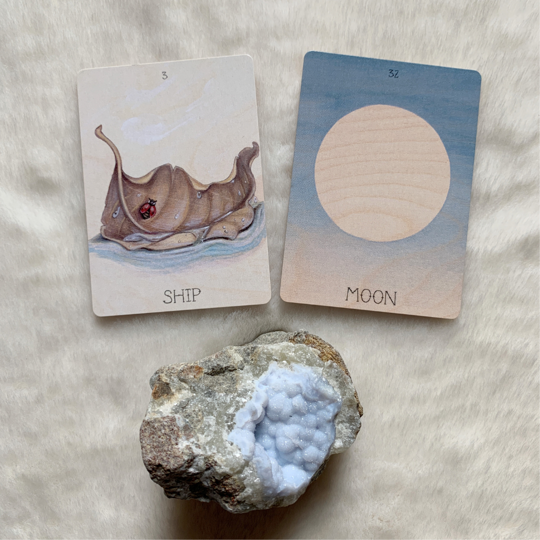 The Lenormand Ship combined with Moon can predict that you will travel either at night, or on a monthly basis.