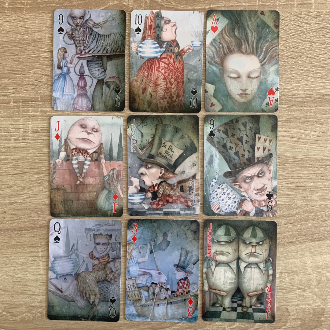 An Alice in Wonderland themed Playing card deck by British artist Dominic Murphy.
