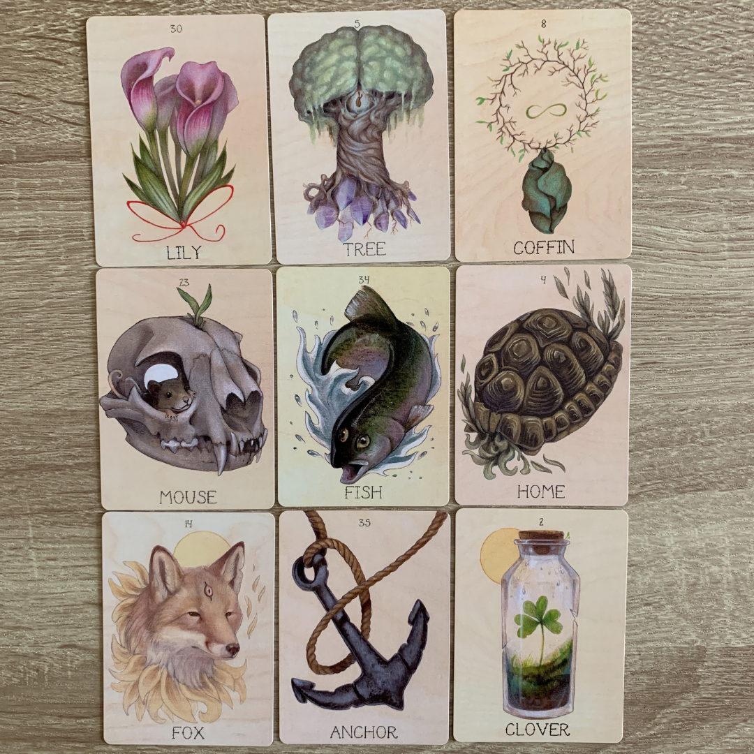 An example of a Lenormand deck - The Seeker's Lenormand by Skull Garden.