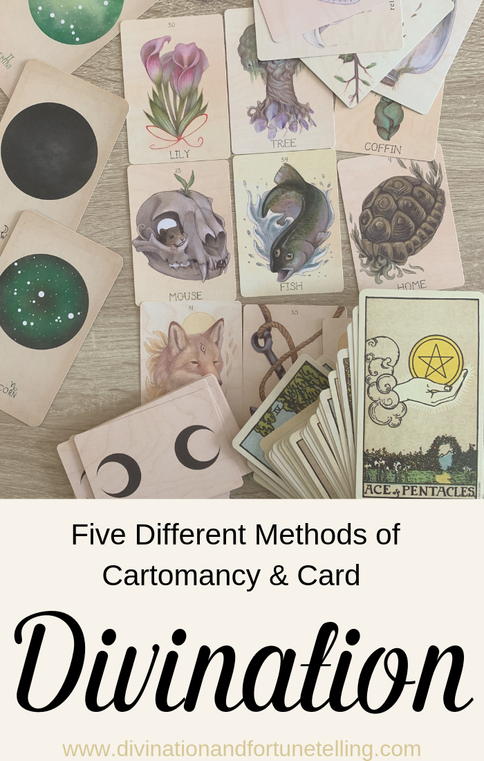Five different methods of divination and fortune telling using cards. Cards included in this post are Tarot, Lenormad, playing card cartomancy, oracle cards, and kipper.