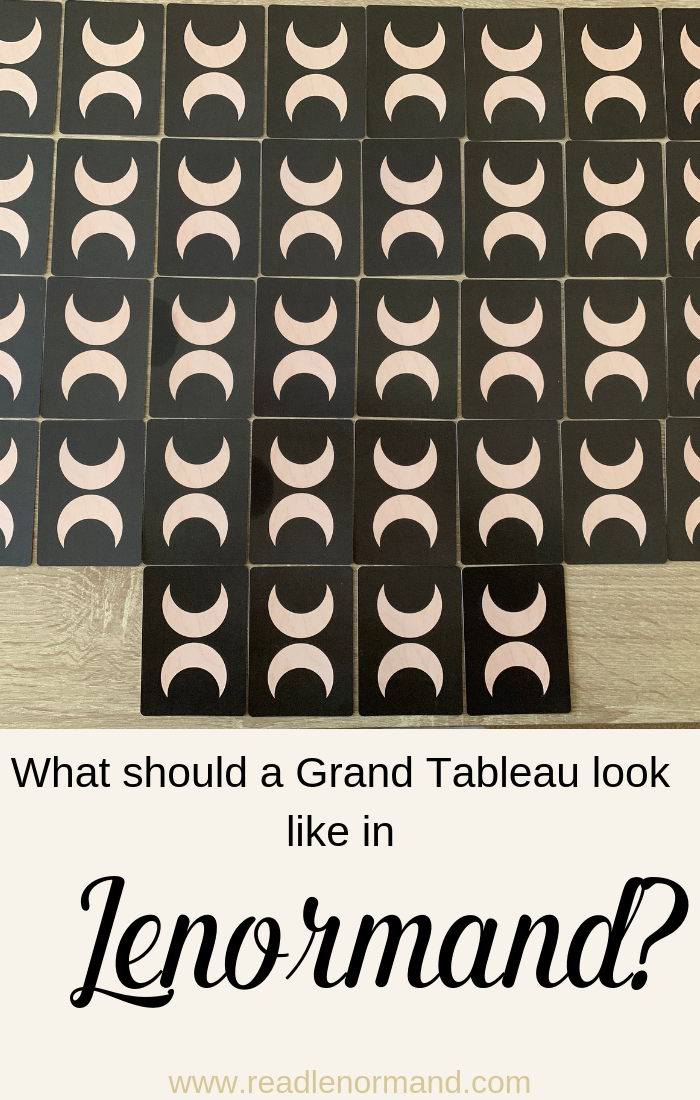 Art Illustration: You're a budding Lenormand card reader, but you have an issue; you do not know what your Grand Tableau should look like! Sometimes you see a Grand Tableau look like a rectangle, but other times the Grand Tableau looks more square with four cards along the bottom. So, how should you lay out your Grand Tableau?
