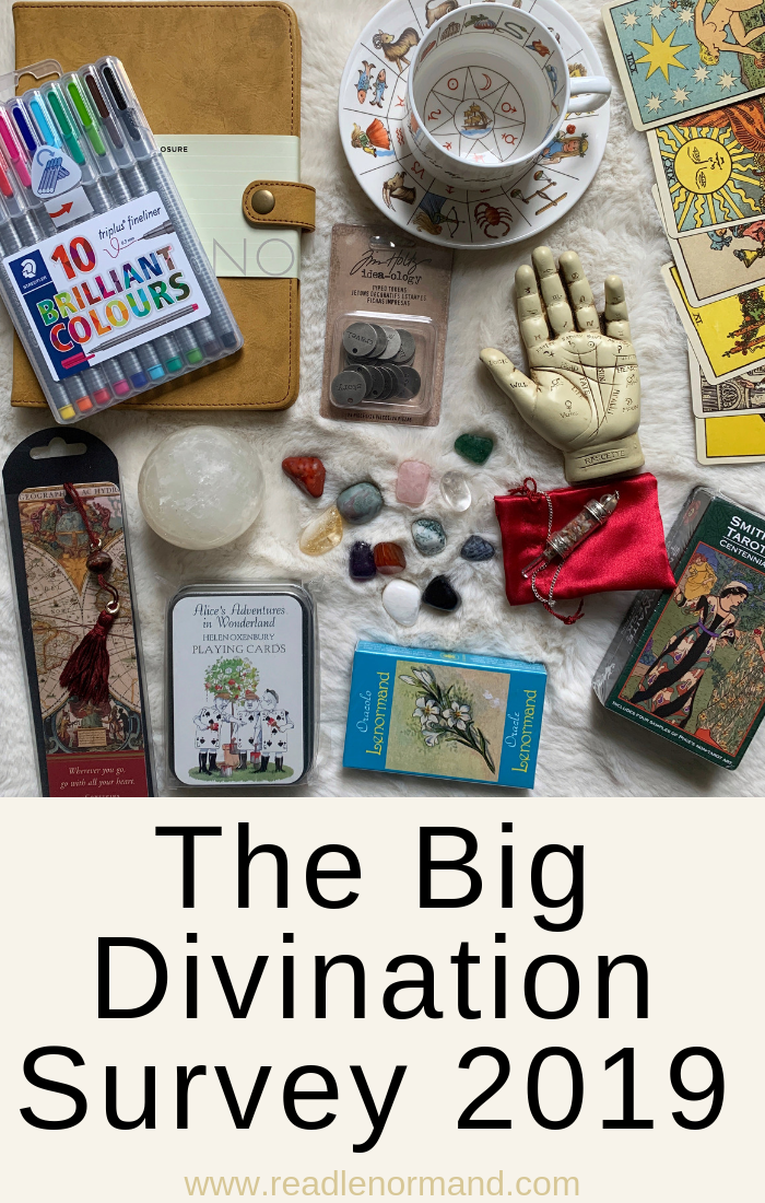 Art Illustration: The Big divination survey of fortune tellers who read astrology, Tarot, lenormand, cartomancy, dowsing, crystal ball, scrying, lithomancy, palmistry, tea cup reading, and tassomancy.