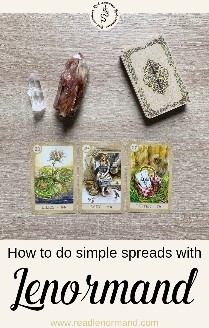 How do you read Lenormand string or line spreads? In this blog post, we look at how to interpret this Lenormand divination spread for beginners. This three, five, seven or nine card layout is suitable for beginners, and fortune tellers who are experienced in this 3, 5, 7, or 9 card reading system.