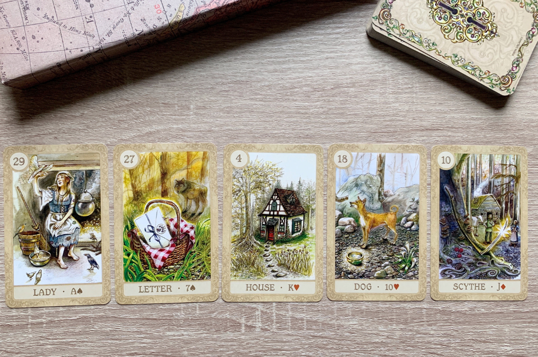 An example of a 5 card Lenormand string spread. Here is; The Lady, The Letter, The House, The Dog and The Scythe. Love this deck? Grab it  here !