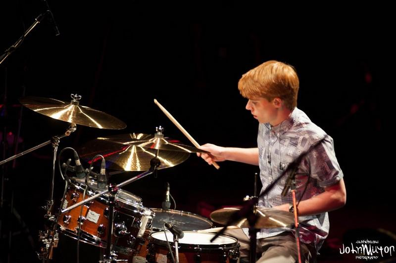 Performing at the finals of the Young Drummer of The Year Competition, 2013.