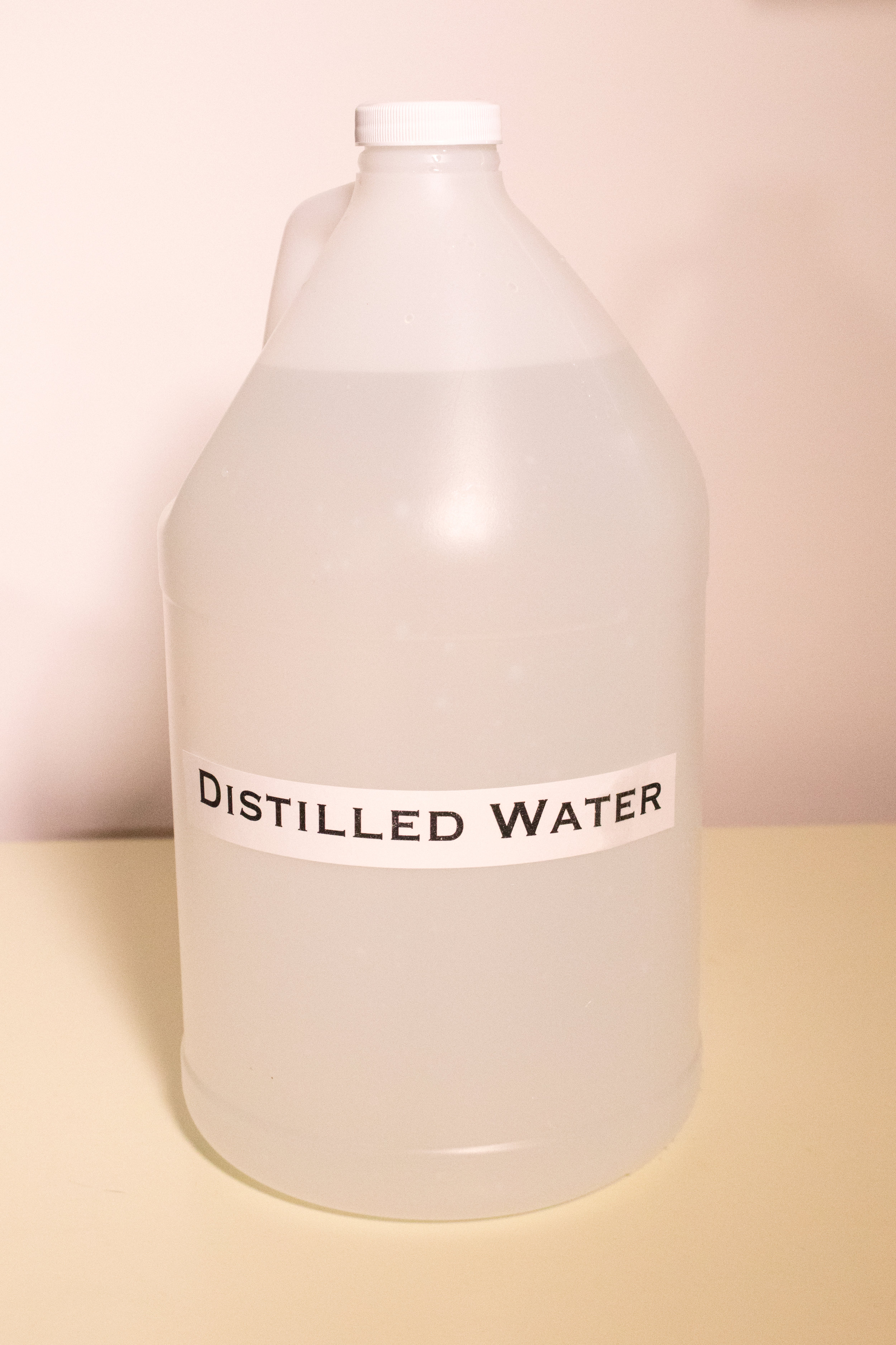 "Jug labeled ""Distilled Water"""