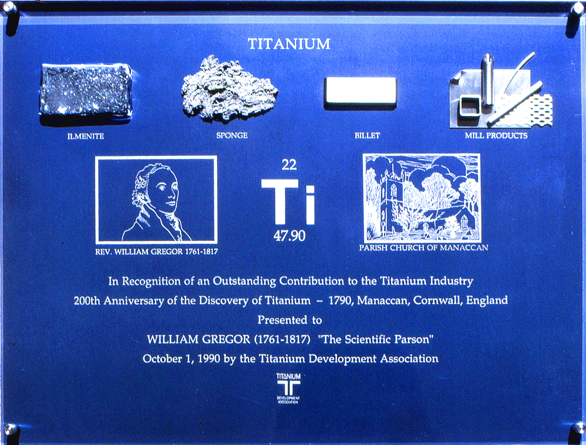 The plaque we made to commemorate the discovery of Titanium.