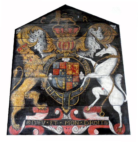 …in the company of another relic, a copy of the coat of arms of Charles I (1600-1649)