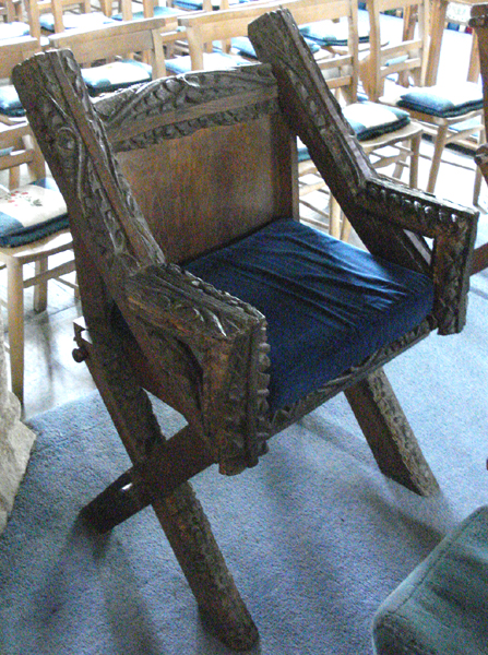 This is a chair made from original roof beams.
