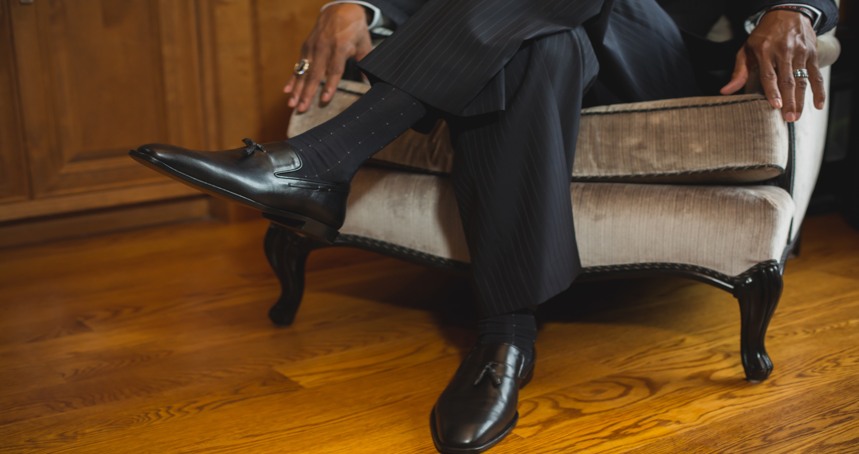 Former NBA Star Antonio Daniels sporting the M Andrews Sartorial Luxury Tassel Loafer in Black