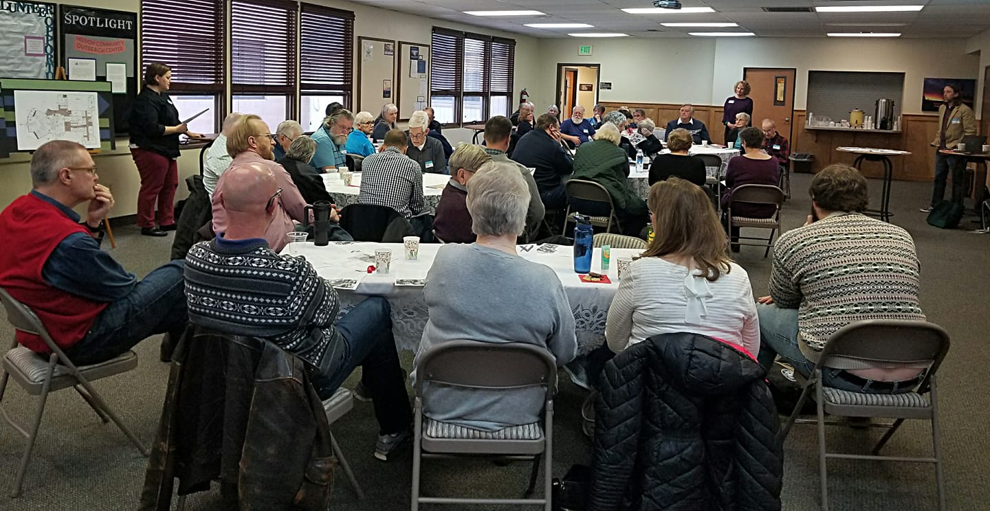 """People representing a number of congregations from eastern Washington meet in Spokane to talk about what it means to be """"church together."""" Many of them work together to do God's work in our region."""
