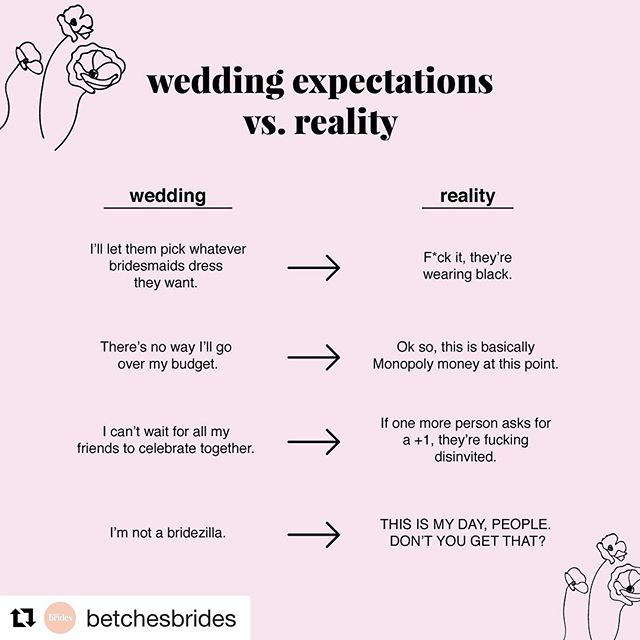 @betchesbrides ・・・ Wedding planning isn't all rainbows and sunshine—which, if you're engaged, you've definitely figured out by now. (BTW, if it is all that stuff for you, we hate you.) While you may feel like you're ready to jump off the proverbial cliff you're standing on, back away. We're here to let you it's OKAY if your wedding doesn't turn out just like your Pinterest board.