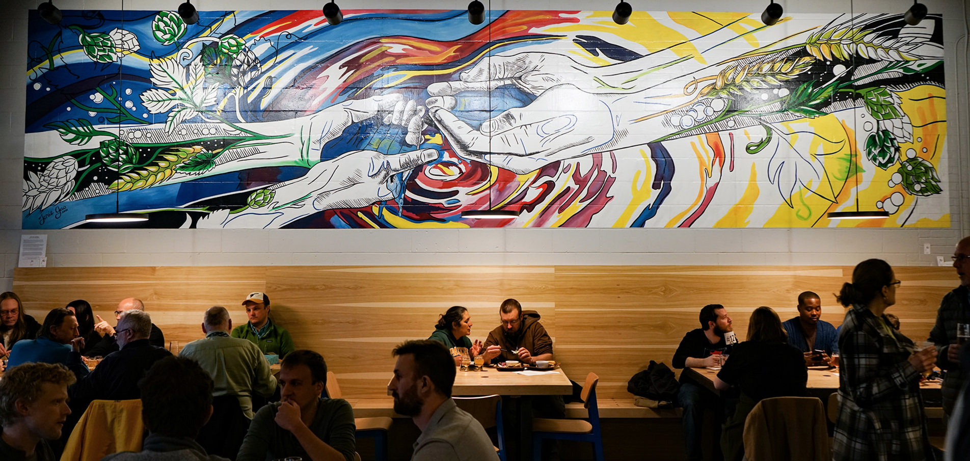 How We Gather  - a mural by Jenie Gao Studio for Working Draft Beer Company