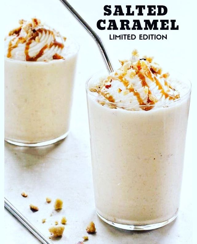 Excited for the RETURN of Salted Caramel Seasonal Superfood Shake! .  What are the benefits of this convenient & complete meal replacement that everyone can enjoy?! . 👌🏻Superior branched-chain amino acid profile . 👌🏻24 g undenatured whey & milk protein . 👌🏻8 g dietary fiber . 👌🏻21 vitamins & minerals . 👌🏻Active enzymes to help ease digestion . 👌🏻Satisfies cravings & helps you feel fuller for longer . 👌🏻Natural ingredients with no artificial flavours, colours, sweeteners or trans fats . 👌🏻Low glycemic, soy free & gluten free .  And soooo great in recipes! .  This seasonal, limited edition shake will be available Tuesday, September 3 for a short time --- only while supplies last! .  There is an order limit of 3 per order, but you may place an order more than once. .  Be sure to order early on Tuesday as these shakes are expected to sell out fast! 🙌