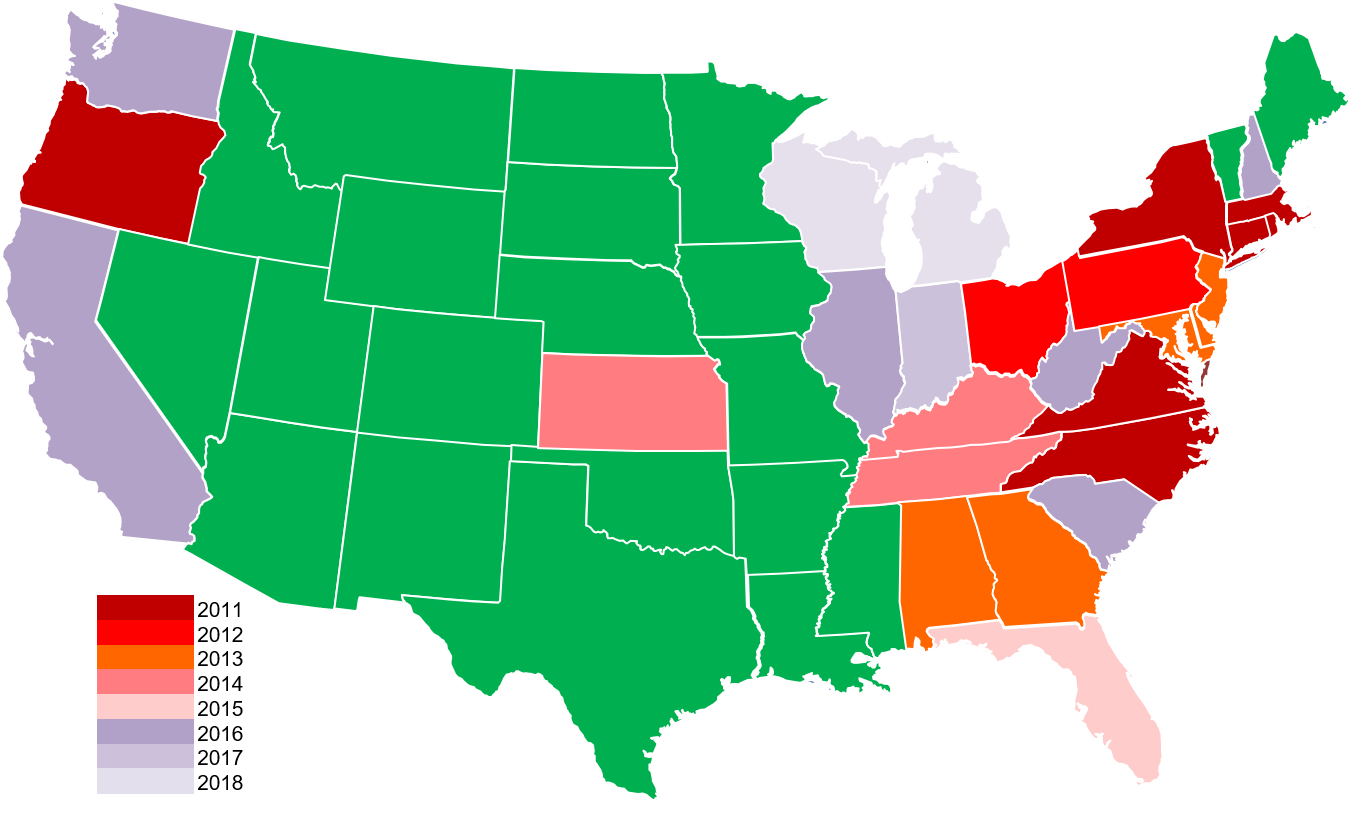 Map of states with known cases of Boxwood Blight as of 2018