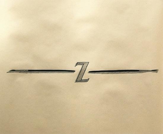 """Objektkomposition Nr.5 The Z"",45x45cm, Ink on paper, 2018"
