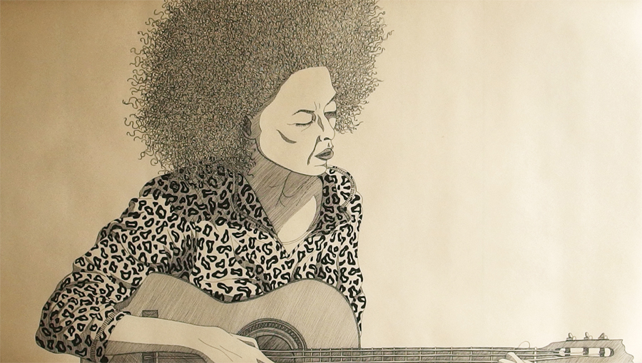 """Valerie"", Ink on paper, 95x47cm, 2016"