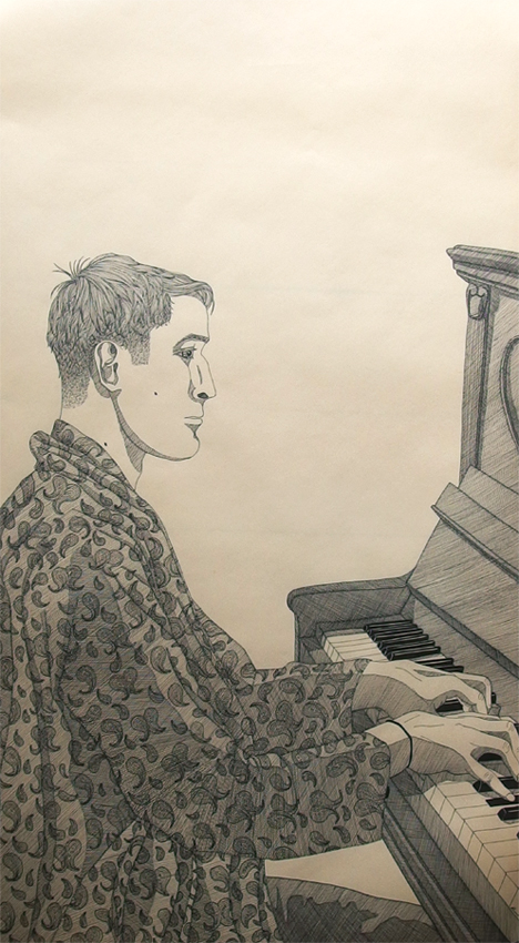 """Phil"", Ink on paper, 47x93cm, 2016"