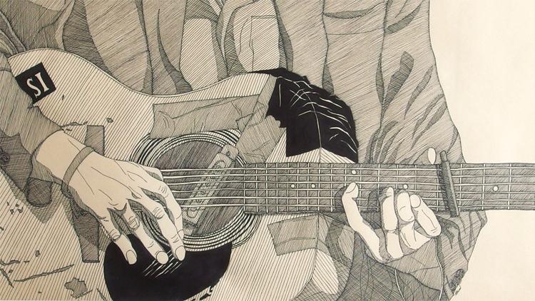 """""""Pietro"""", Ink on paper, 87x47cm, 2016 - Detail"""