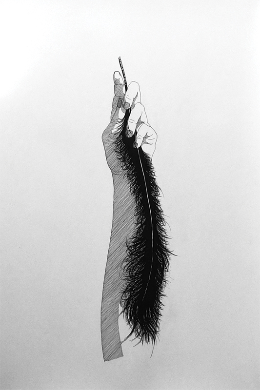 """""""Hand with a black feather"""", 40x60cm, Ink on paper, 2018"""