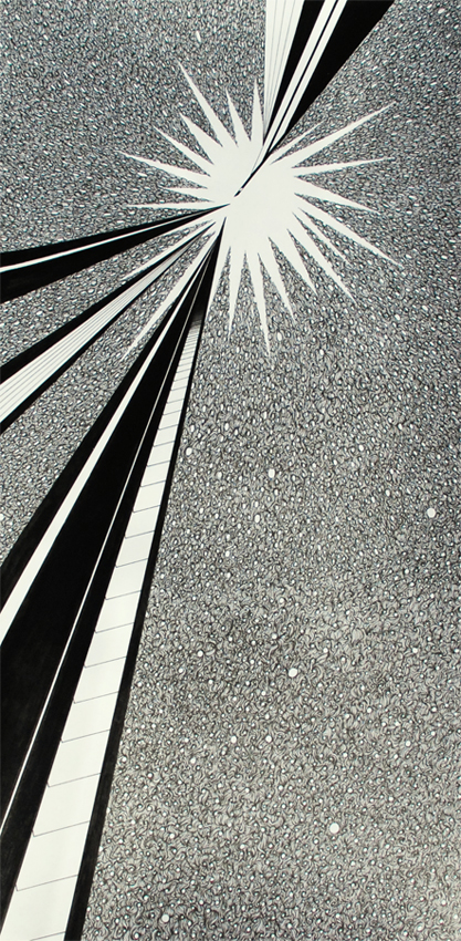 """""""Collision"""", Ink on paper, 30x60cm, 2019"""