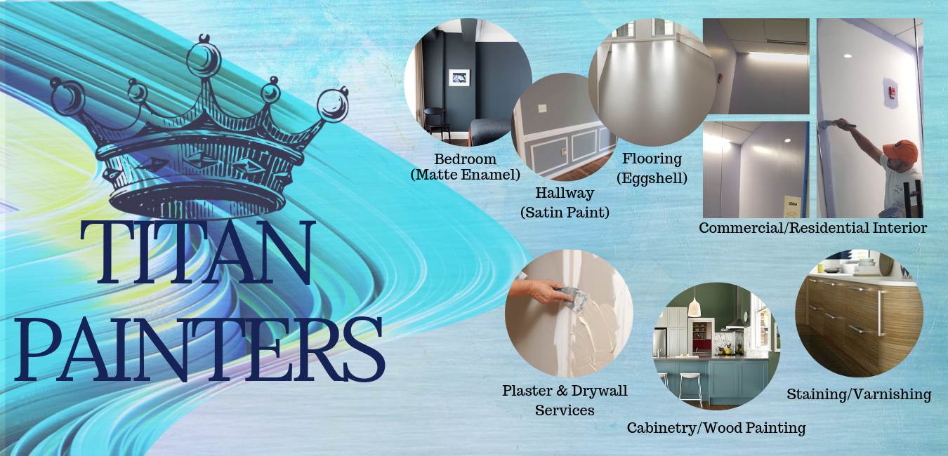 Titan Painters Interior Painting Projects and Paints used (Matte enamel, Eggshell, Satin Paint, Cabinetry, Wood Painting, Staining, Varnishing wood surfaces,