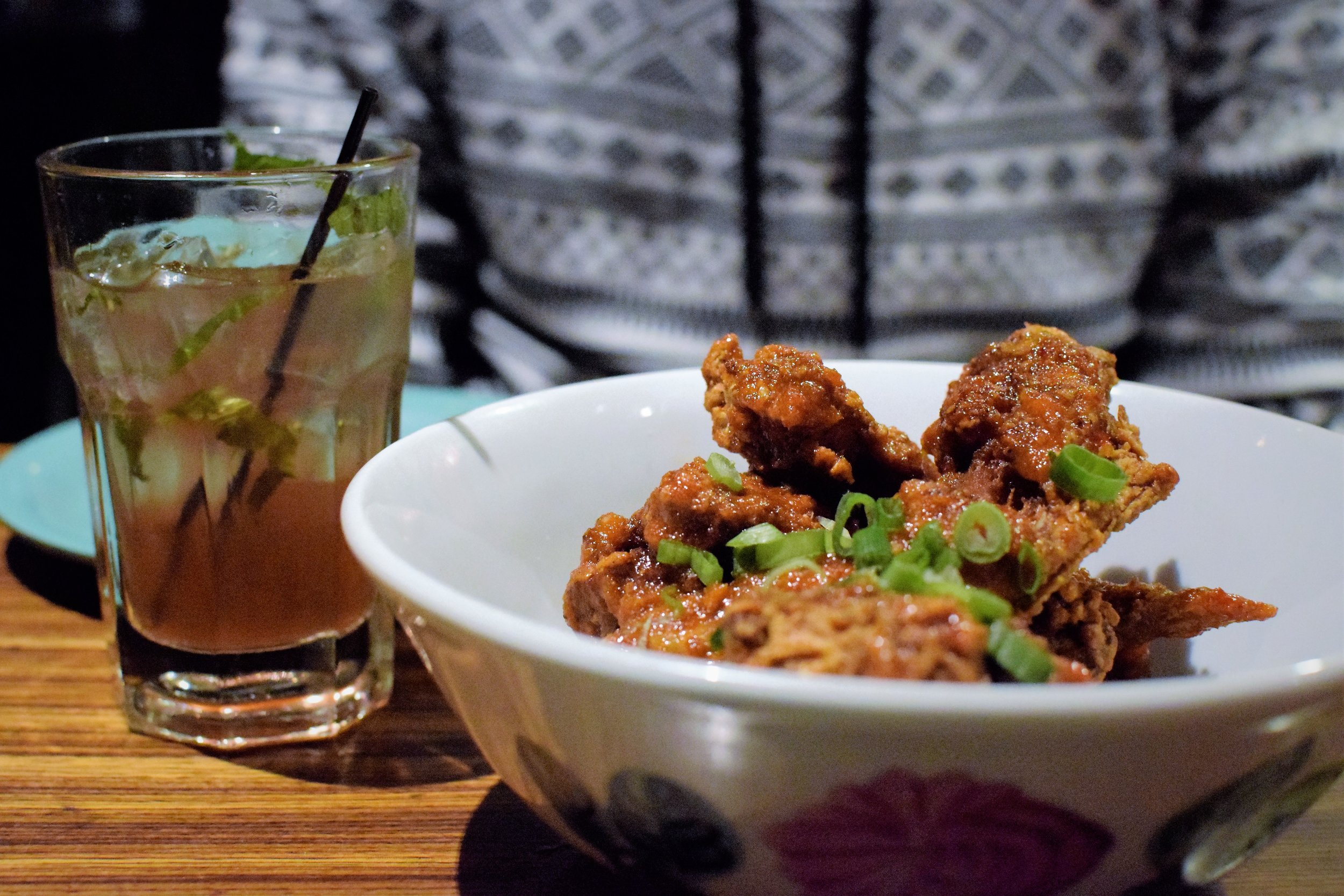 Klong Chicken Wings go great with Blueberry mojitos | Photo Credit:  Lauren Johnson
