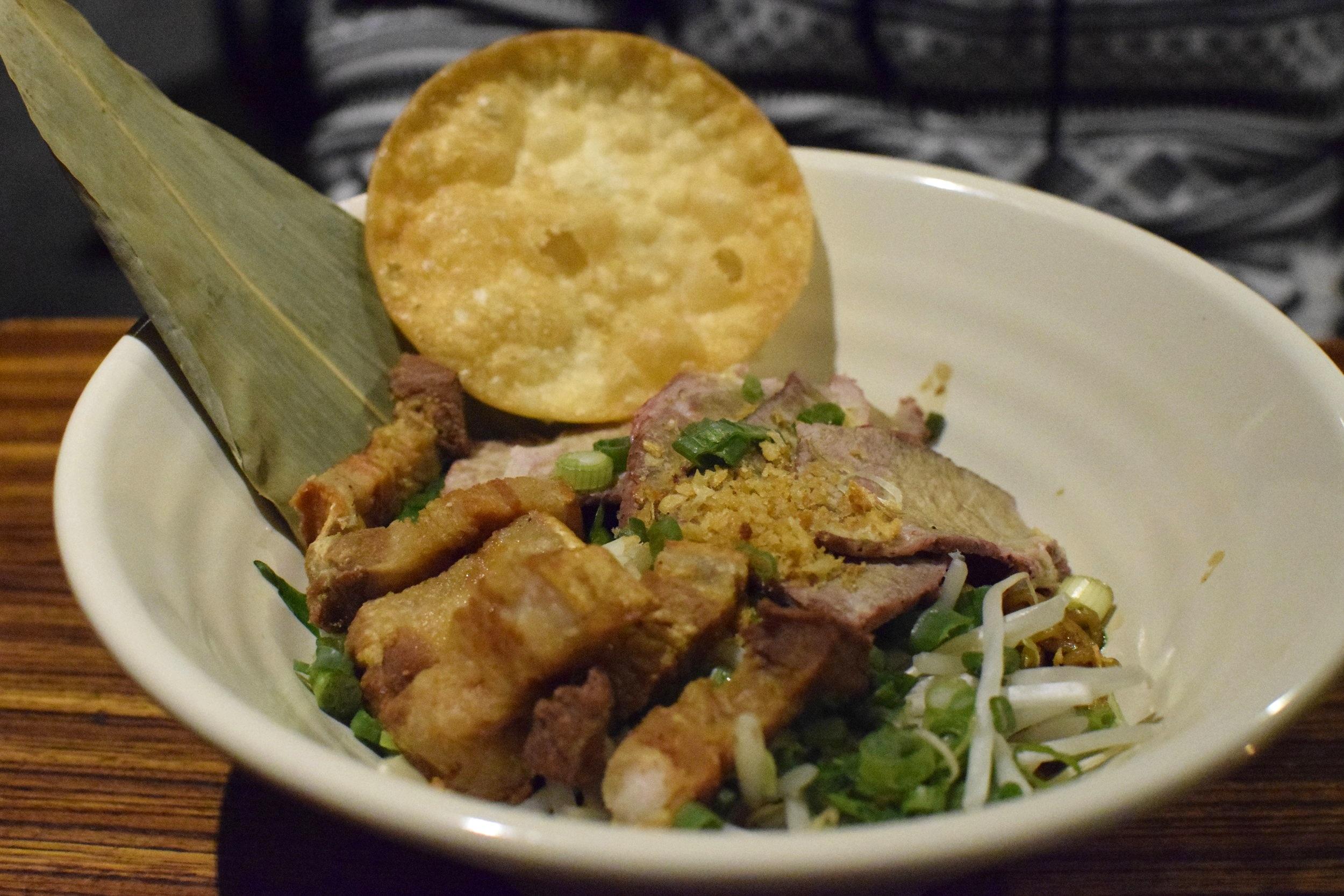 Egg Noodle with Roasted Pork and Crispy Pork | Photo Credit:  Lauren Johnson
