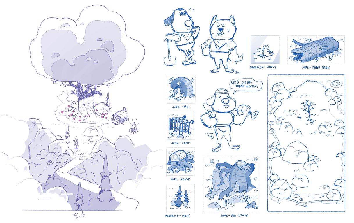 Early concepts for the island, various characters, and debris.