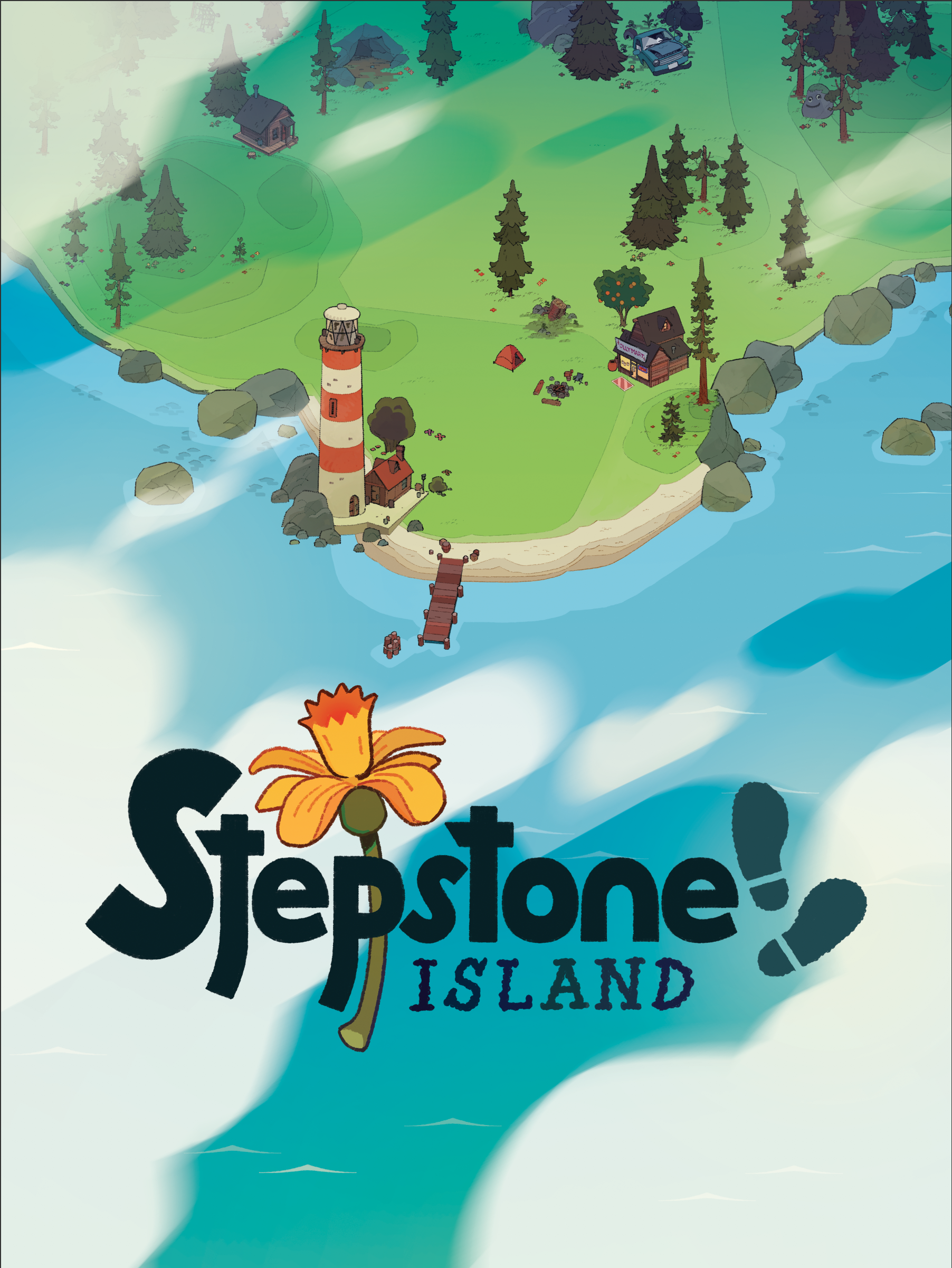 A release poster for  Stepstone Island , given out at the E3 2018 IndieCade Showcase.