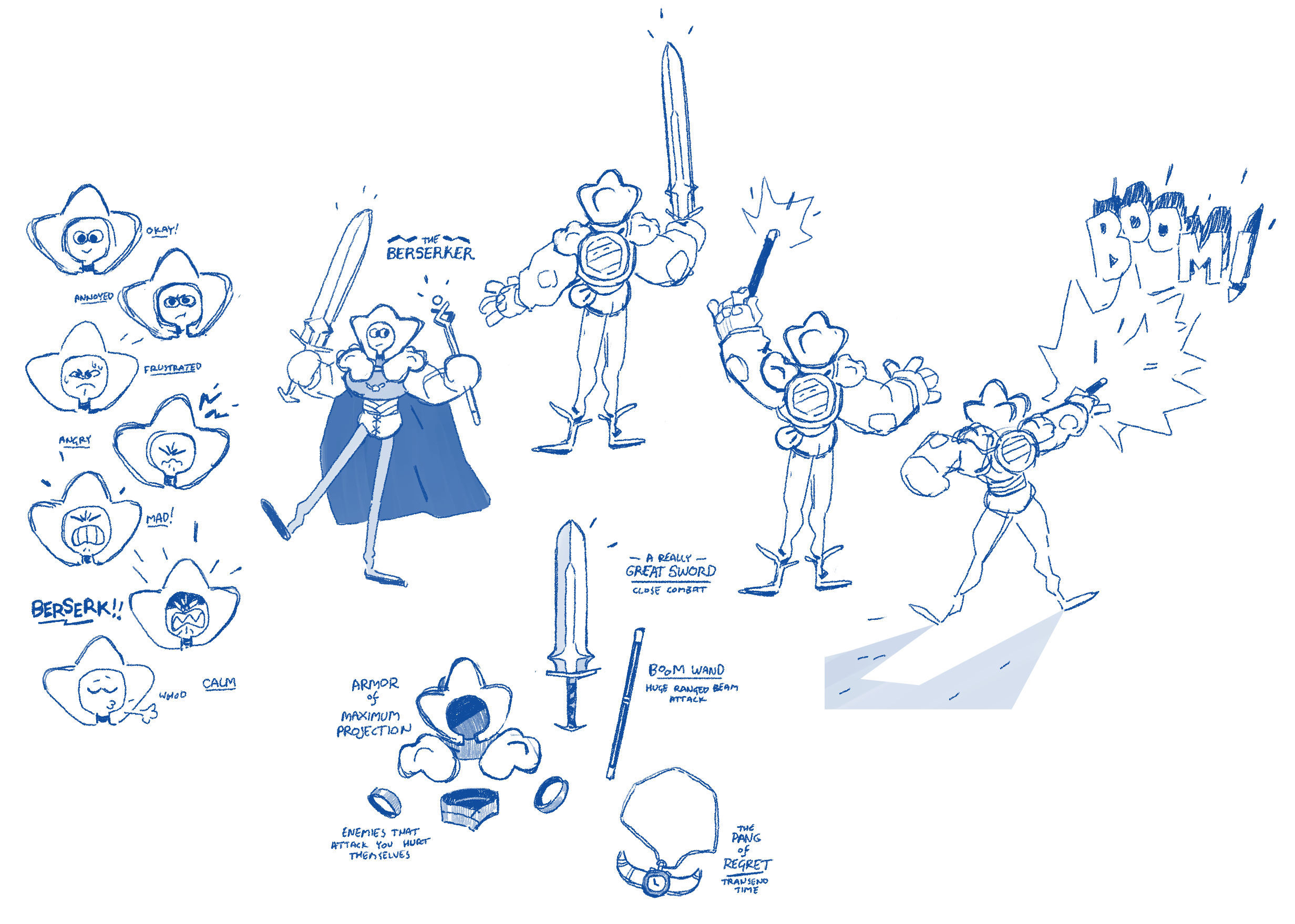Various concepts for the Berserker and Mood UI.