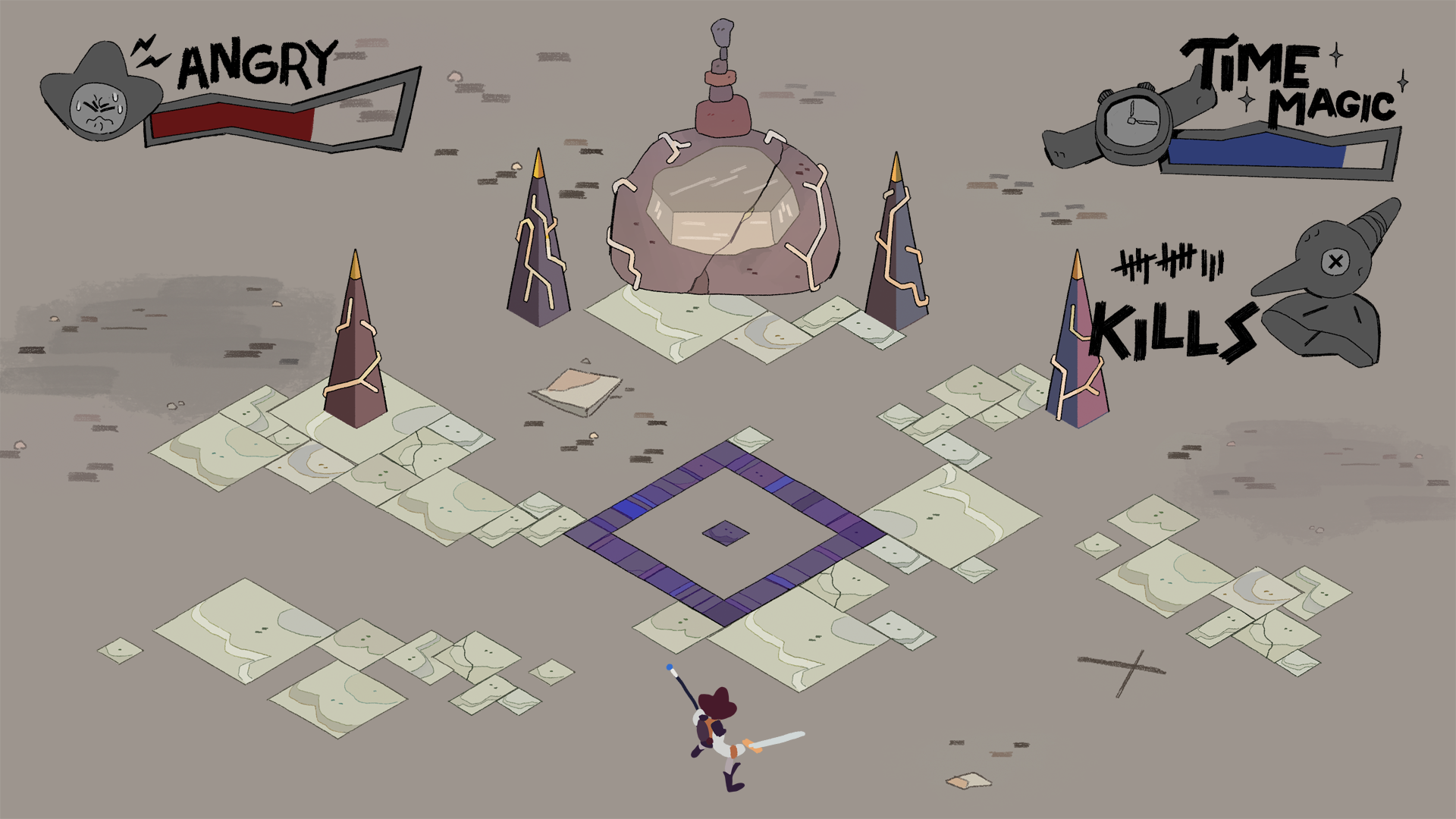 Mockup of the Final Arena including UI assets.