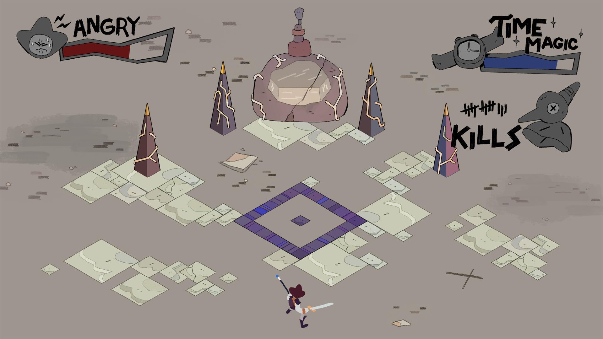 Mockup of the Final Arena including UI assets.