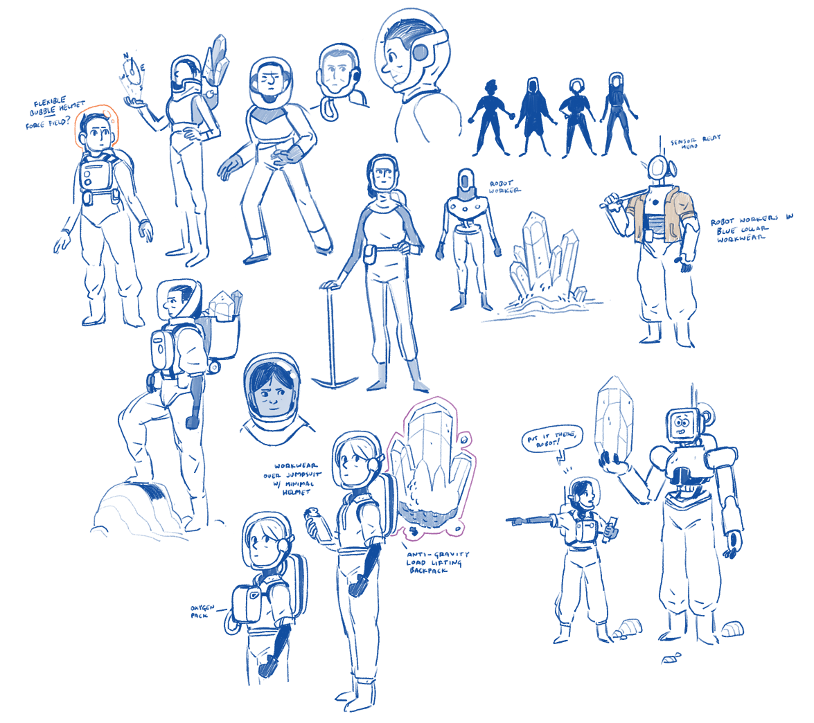 Various early character concepts.