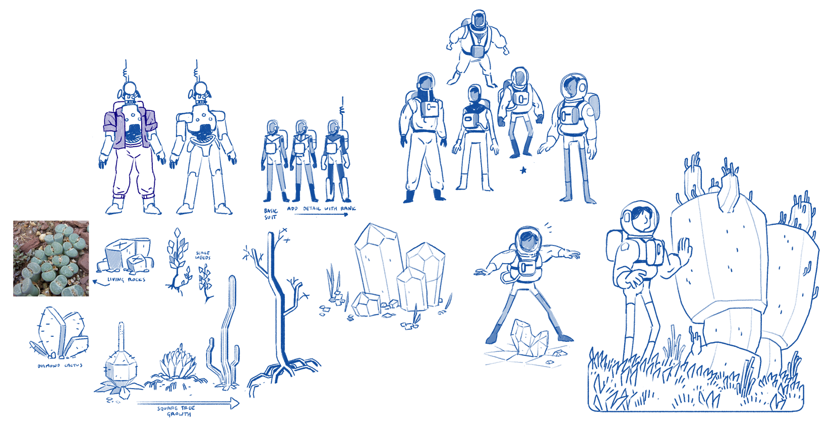 Early character and flora concepts.