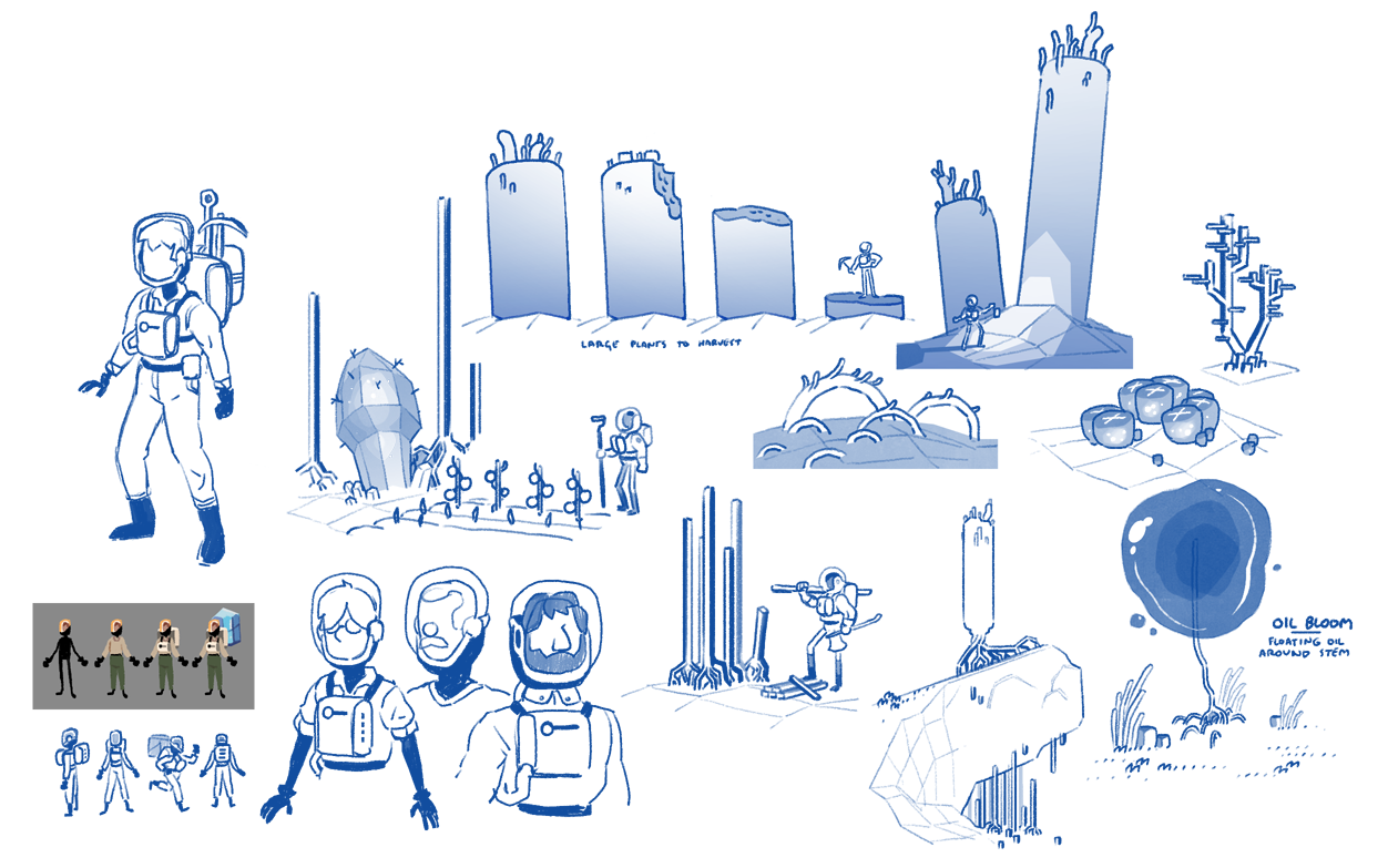 Various character and flora concepts.