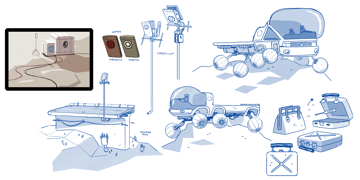 Concepts and color key for the transport rover and constructible roads.
