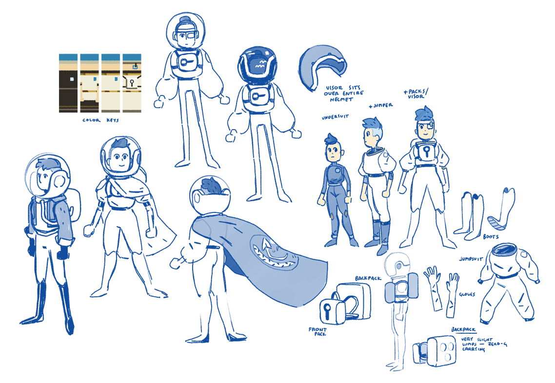 Early concepts for the player character, Blue.