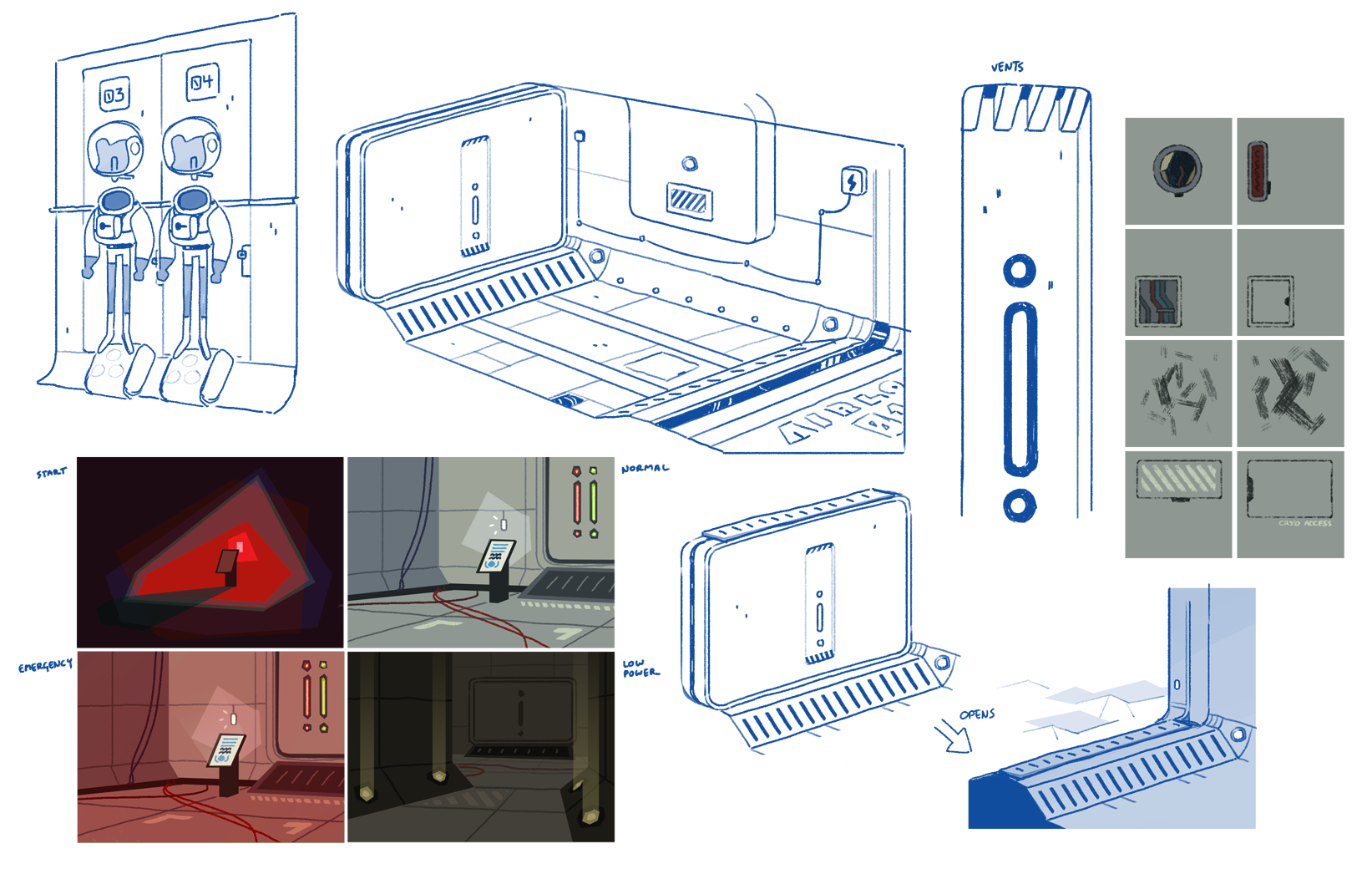 Various concepts and color keys for the Sunrise interior.