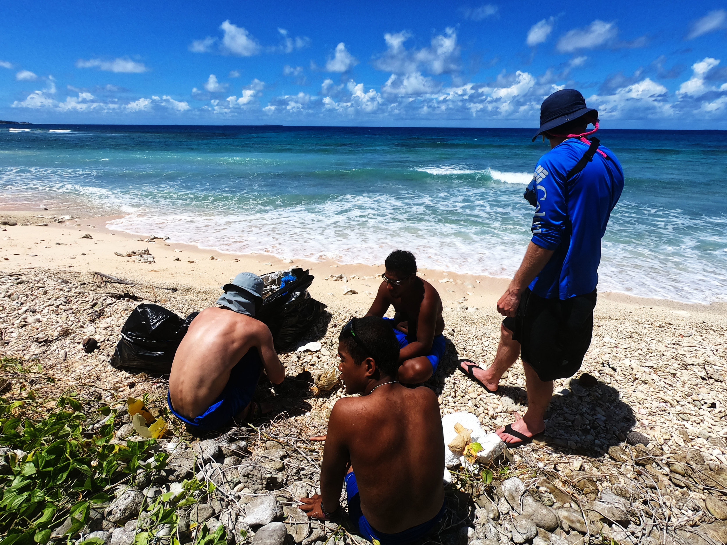Photo: Connor Greenwood  Researcher's conducting marine debris surveys on the island of Mog Mog, led by Fuller Gerbl and Connor Greenwood.  Help us to keep our beach clean for generations to come!