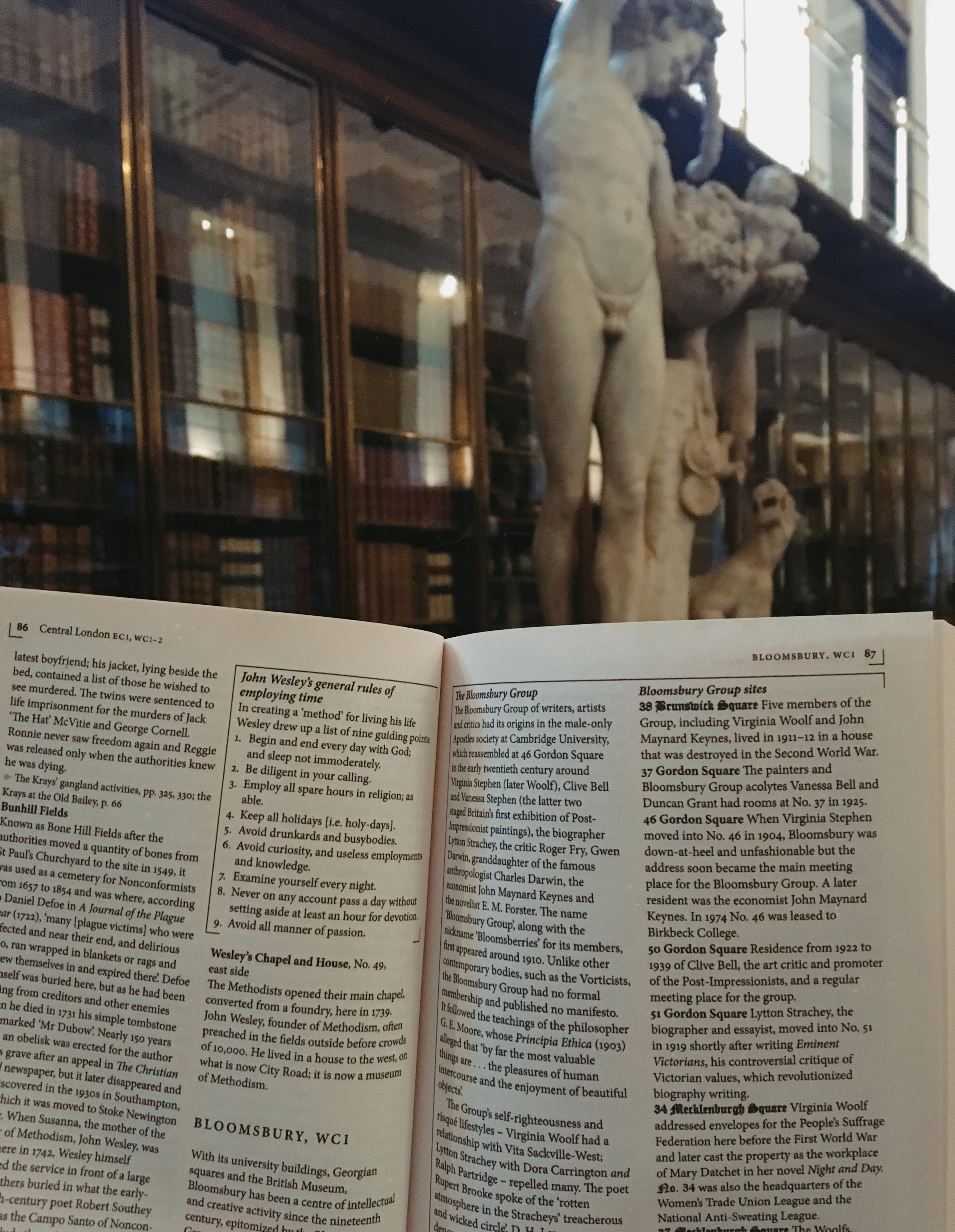 Reading in The British Museum's library.