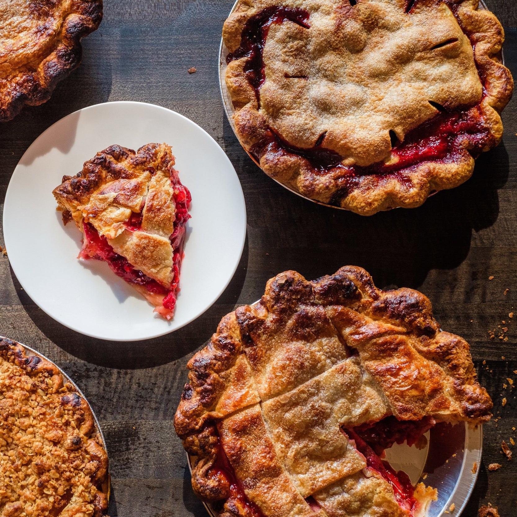 Raspberry Rhubarb Pies