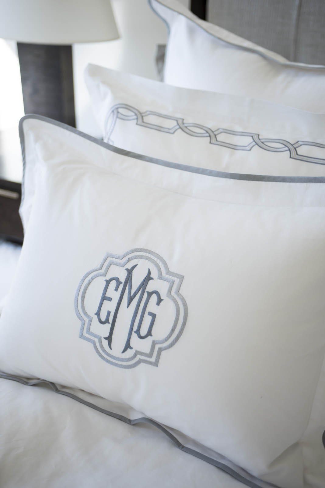 """Sham with 2"""" flange and binding with Regal Monogram"""