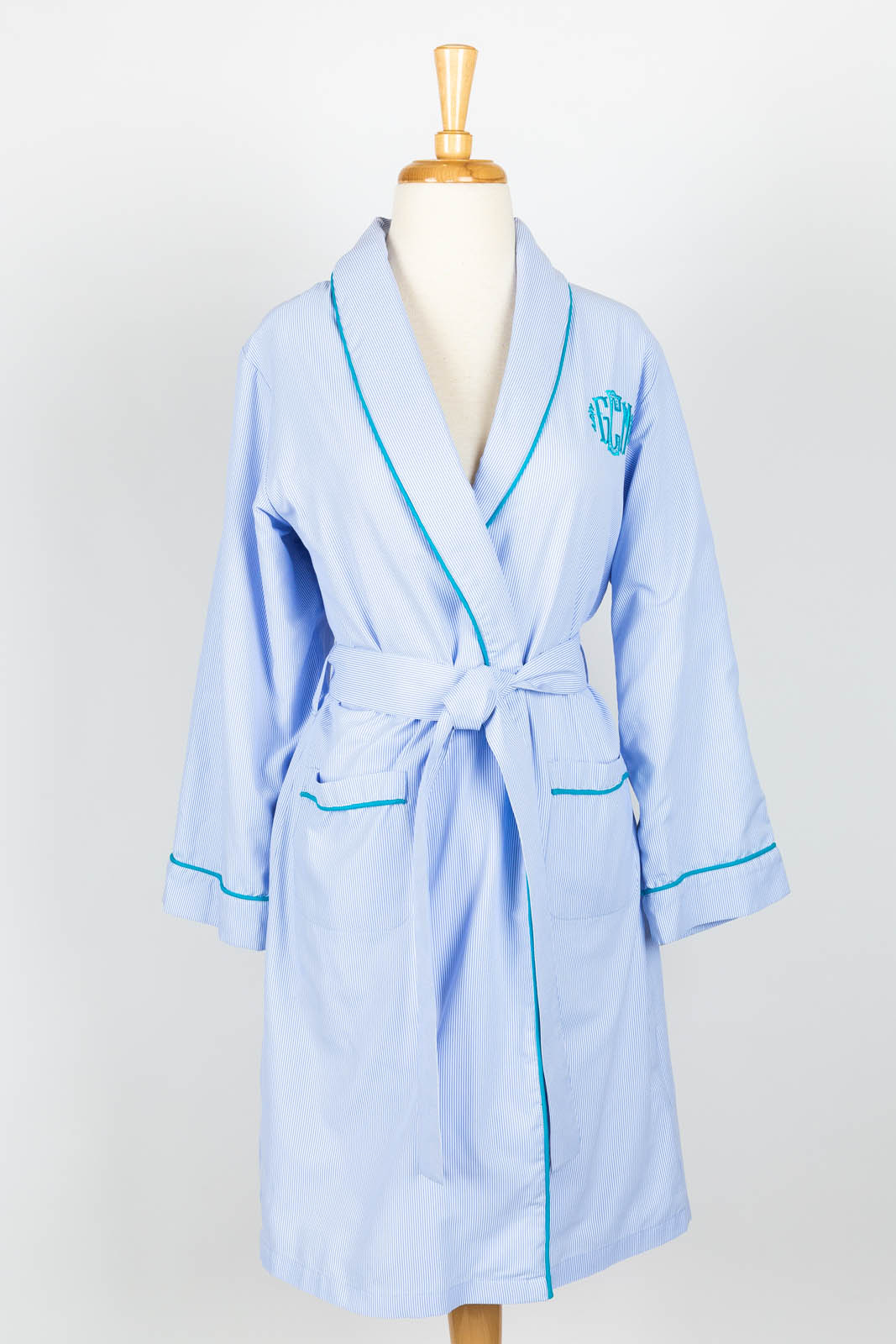 Blue pinstripe terry jersey lined short robe with Kim monogram