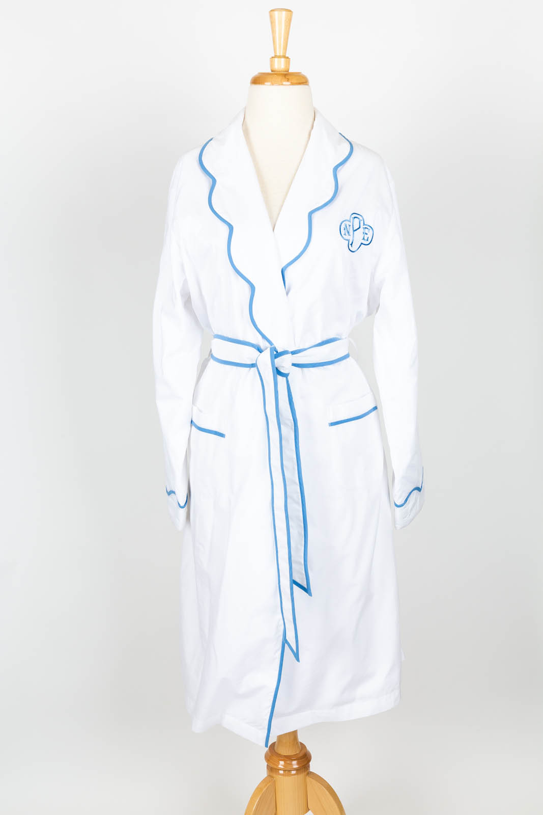 Scallop collar white poplin robe with Kelley Monogram (available unlined or terry jersey lined)