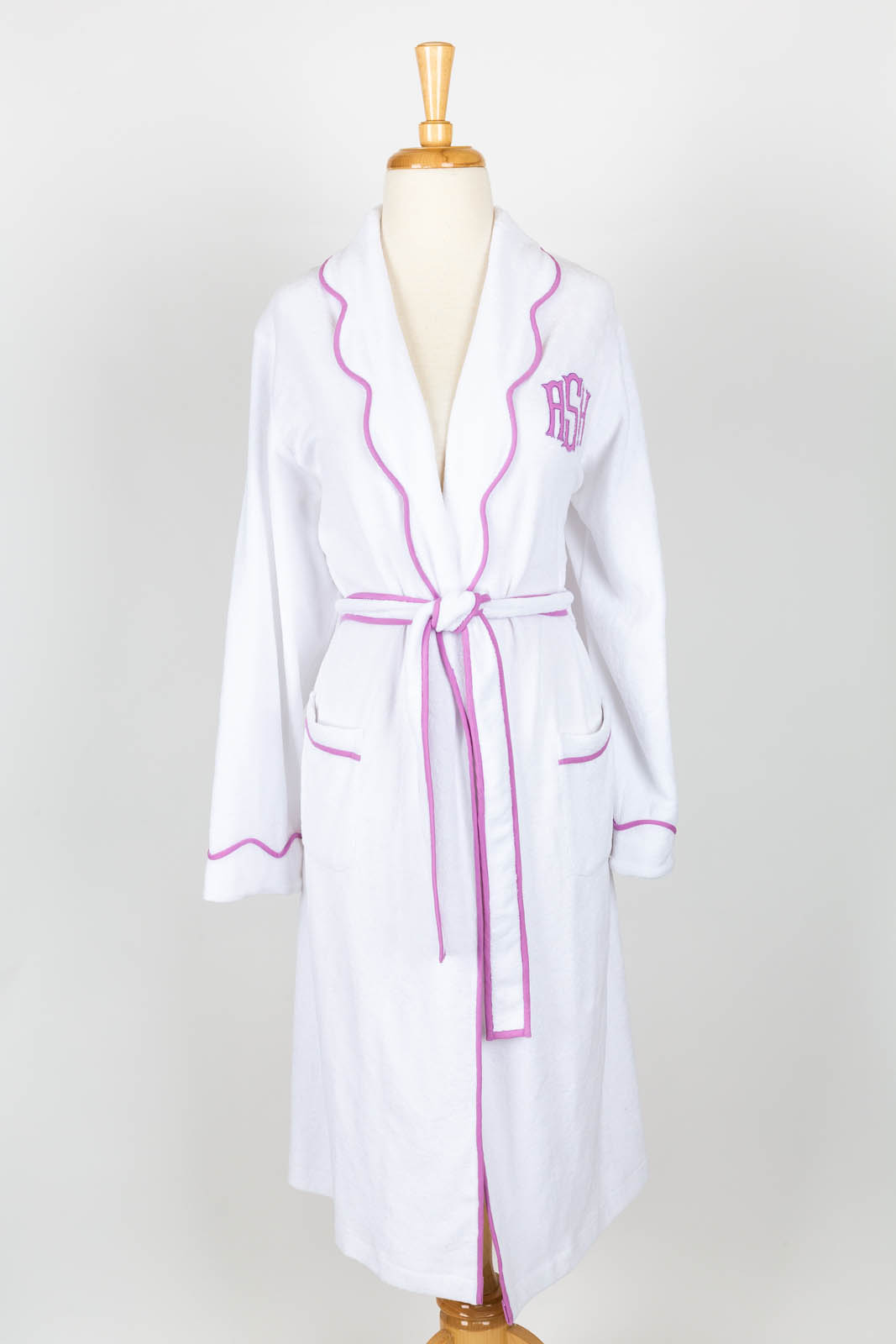 Scallop collar white terry jersey robe with Classic Applique (available unlined or terry jersey lined)