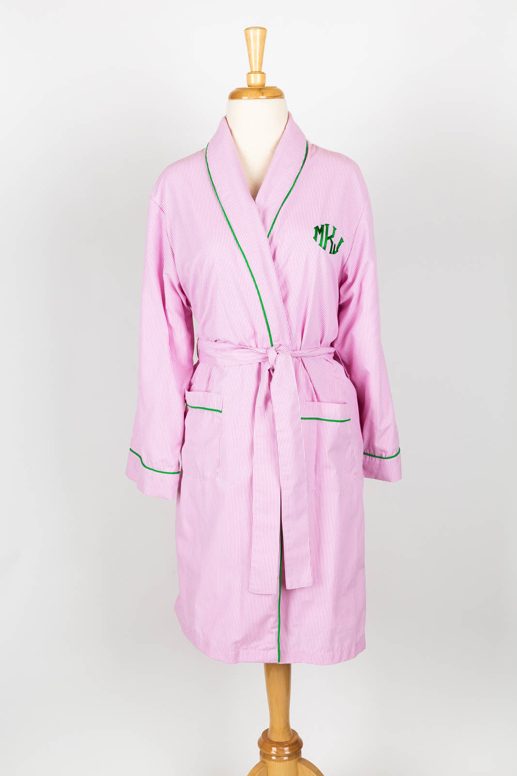 Pink pinstripe terry jersey lined short robe with Faith monogram