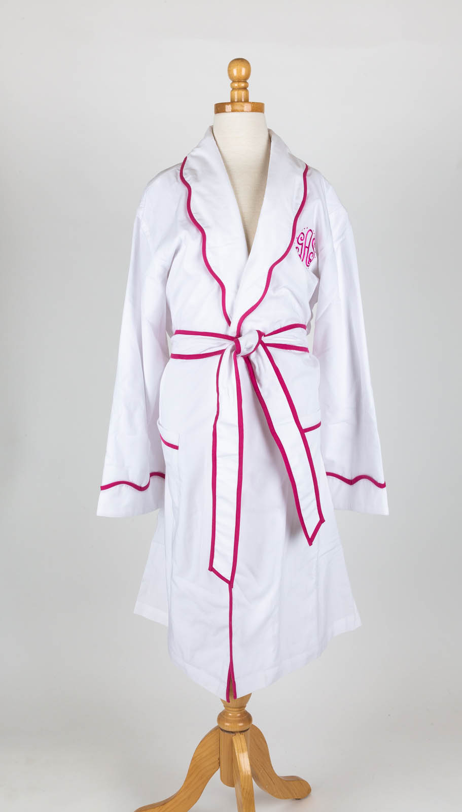 Scallop collar white poplin robe with Kate Monogram (available unlined or terry jersey lined)